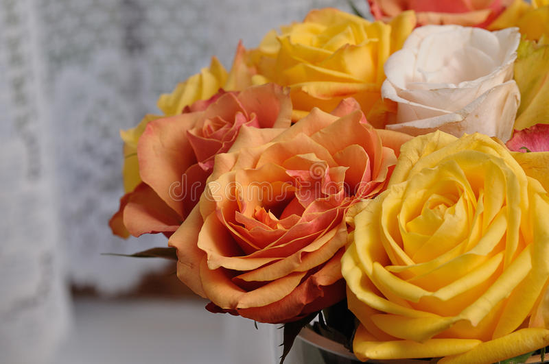 A bouquet of colorful roses stock photography