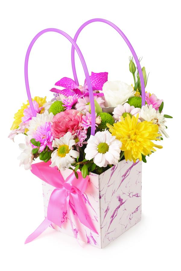 Bouquet of colorful spring flowers isolated on a white background royalty free stock photography