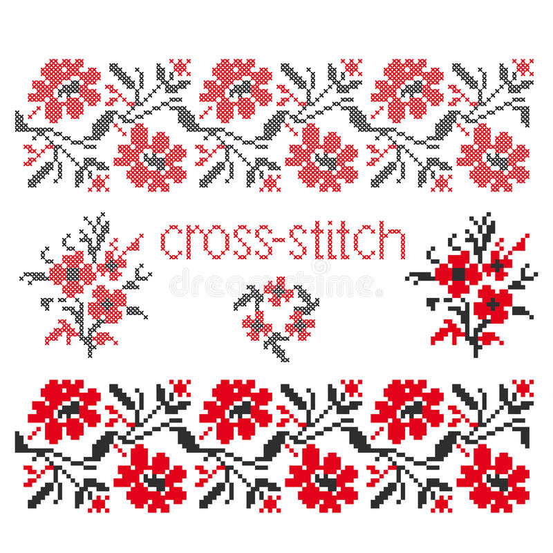 Bouquet cross-stitch embroidery royalty free illustration