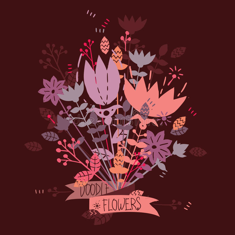 Bouquet of cute flowers. Bouquet of flowers in hand drawn style vector illustration