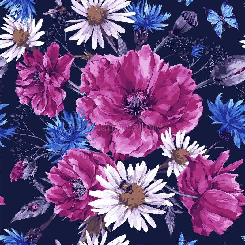 Bouquet d'aquarelle de vintage des wildflowers, minable illustration de vecteur
