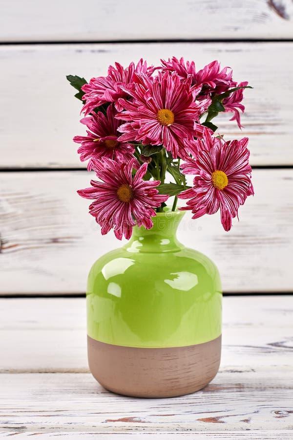 Bouquet d'aster dans le vase vert image libre de droits