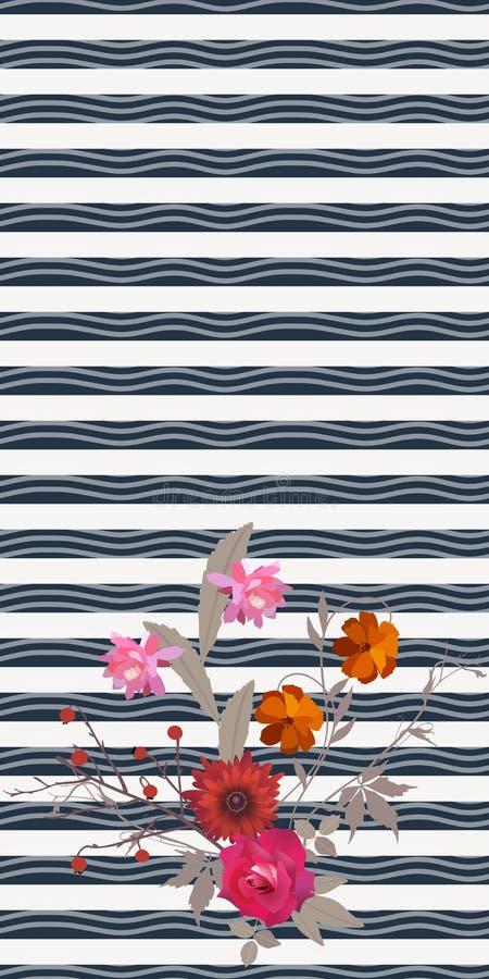 Bouquet d'automne sur le fond rayé de vague Illustration de vecteur illustration de vecteur