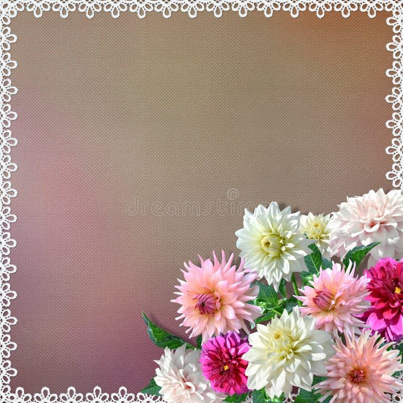 Download Bouquet Of Dahlias On Vintage Background Stock Illustration - Illustration of border, flower: 39505157