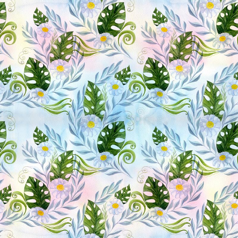 Seamless pattern. A bouquet of daisy flowers - flowers, leaves on watercolor background. royalty free illustration