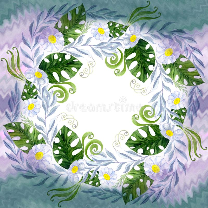 A bouquet of daisy flowers - flowers, leaves on watercolor background. royalty free illustration