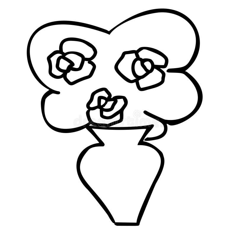Bouquet de bande dessinée de roses de jour de valentines de vecteur dans le vase illustration de vecteur