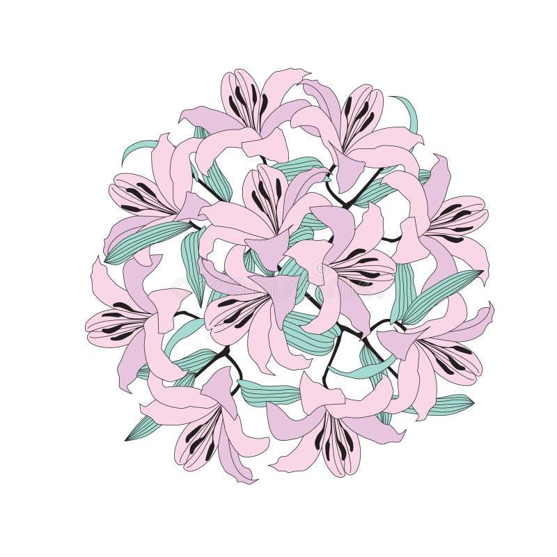 Bouquet de cercle de fleur de lis lilas doux illustration de vecteur