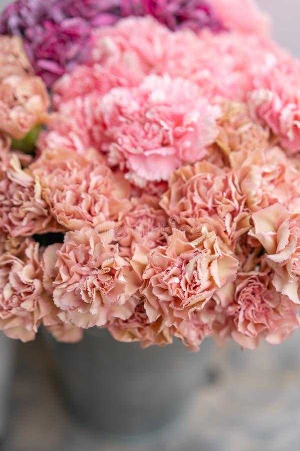 Bouquet de couleur de fleurs rose et violet d'oeillet Fond de source Présent de groupe de clou de girofle pour le jour de mères photographie stock libre de droits