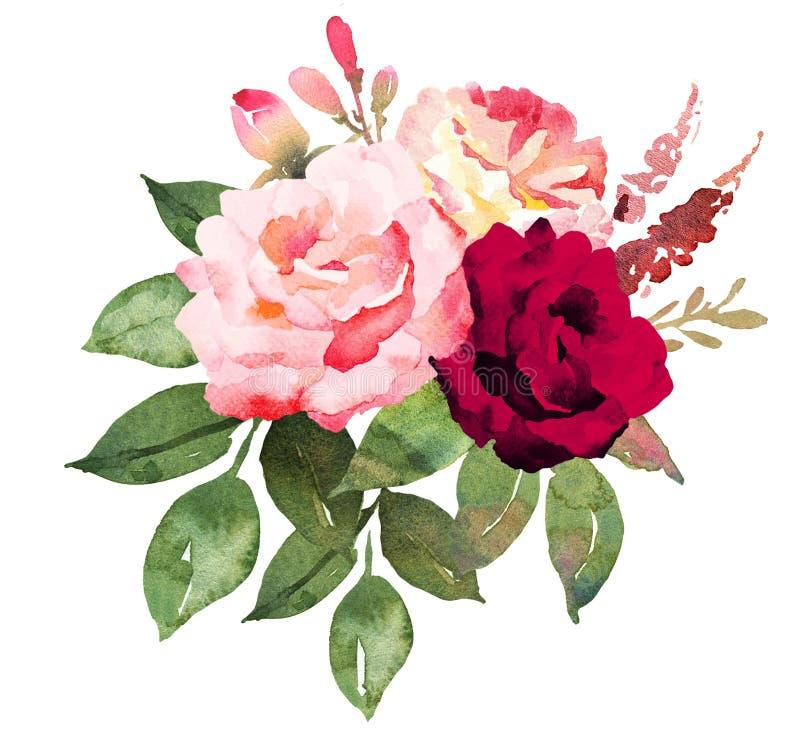 Bouquet de fleur avec les roses rouges et roses illustration stock
