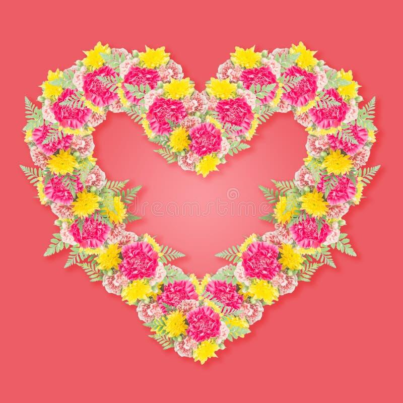 bouquet de fleur d 39 oeillet avec la forme de coeur photo stock image du conception rose 48794592. Black Bedroom Furniture Sets. Home Design Ideas
