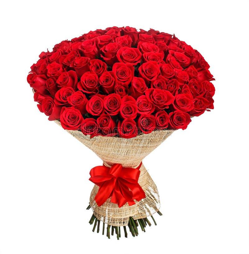 Bouquet de fleur de 100 roses rouges photographie stock libre de droits