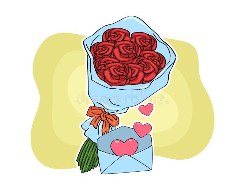 Bouquet de fleur et courrier d'amour photo stock