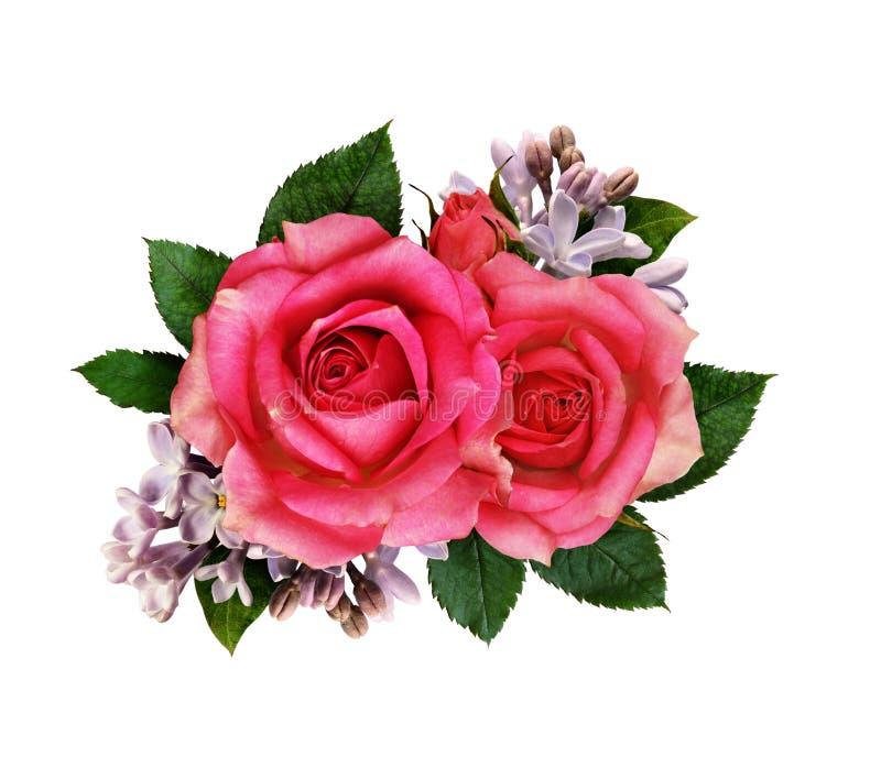 Bouquet de fleurs de rose et de lilas de rose image stock