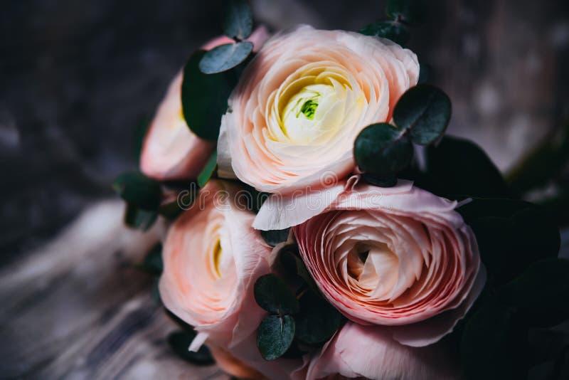 Bouquet de floraison de ranunculus dans la lumière romantique molle image stock
