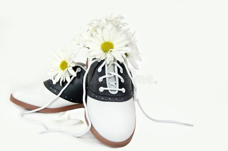 Bouquet de marguerite dans la chaussure de selle image libre de droits