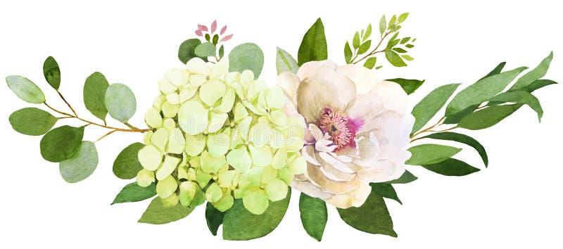 Bouquet de mariage La pivoine, hortensia et s'est levée illustration de vecteur