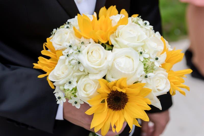 Bouquet de mariage de tournesol image libre de droits
