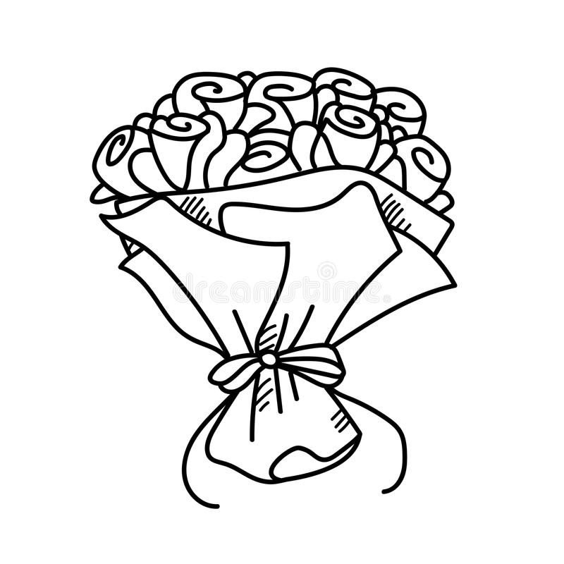 Bouquet De Rose D Illustration De Dessin De Dessin A Main Levee