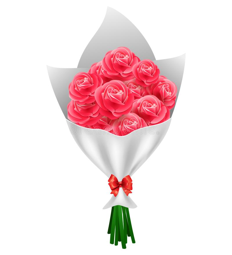 Bouquet de roses rouges de jour du ` s de Valentine d'isolement illustration de vecteur
