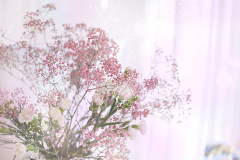 Bouquet de source des fleurs Fond de couleurs brouillées Éclat de couleur carte L'espace libre pour le texte images libres de droits