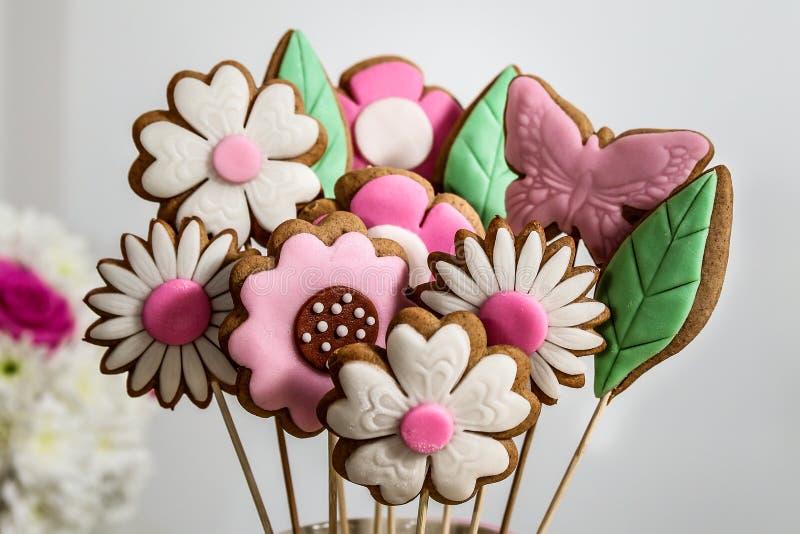Bouquet de sucrerie de fleurs de biscuits images stock