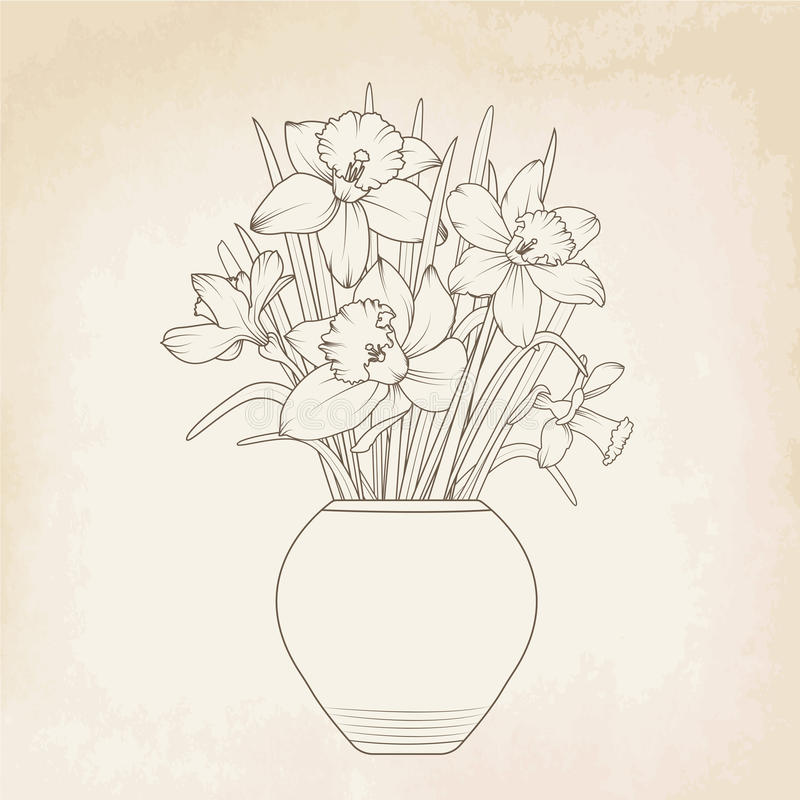 Bouquet de vase à pot de fleurs de jonquilles de narcisse illustration stock