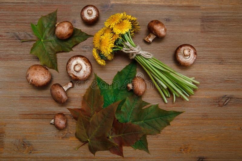 Bouquet dei denti di leone gialli, Forest Mushrooms, foglie verdi sulla Tabella di legno Autumn Garden & x27; fondo di s immagini stock