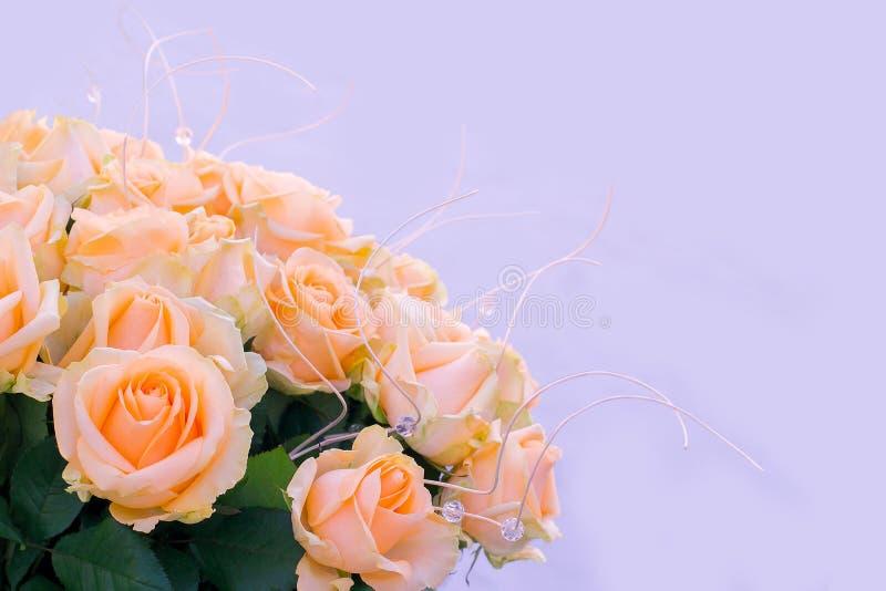 Bouquet delicate cream-colored roses stock photo