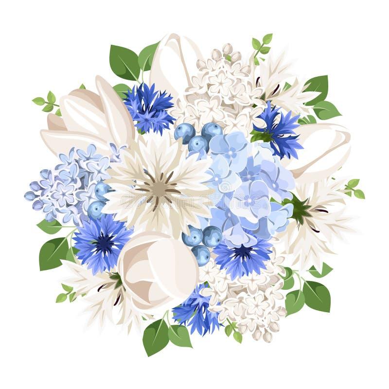 bouquet des fleurs blanches et bleues illustration de vecteur illustration de vecteur. Black Bedroom Furniture Sets. Home Design Ideas