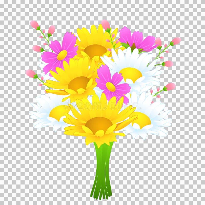 Bouquet des fleurs colorées, dessin de vecteur Le pré lumineux bourgeonne la camomille jaune et blanche, fleurs roses de cosmos e illustration de vecteur