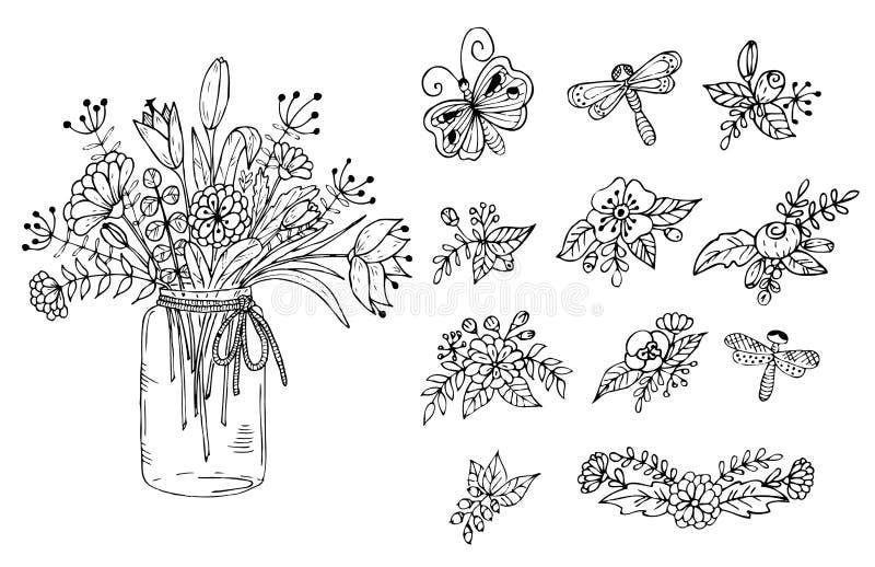 Bouquet des fleurs dans le vase Éléments floraux sur un fond blanc illustration de vecteur