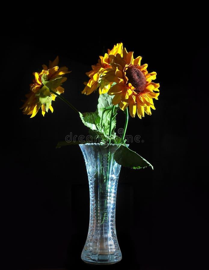 Bouquet des fleurs dans un vase d'isolement sur un B noir image libre de droits