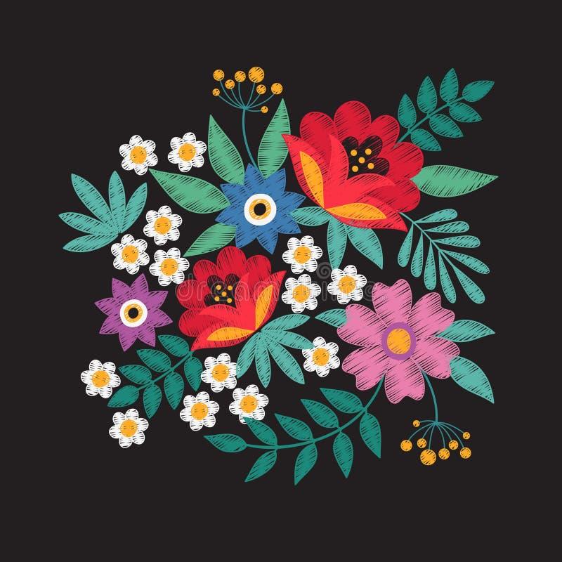 bouquet des fleurs de jardin La broderie florale conçoit la conception de vecteur de mode illustration libre de droits