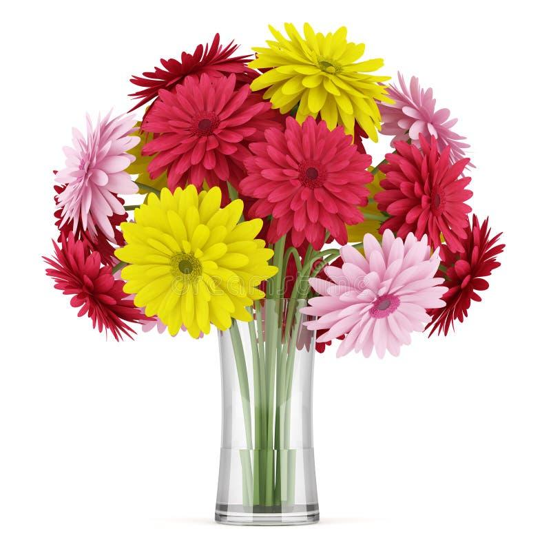 Bouquet des fleurs rouges et roses jaunes dans le vase sur for Bouquet de fleurs jaunes