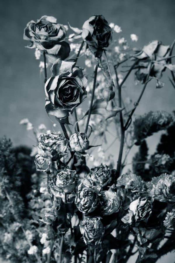 Bouquet des fleurs sèches sur le fond de toile de jute Foyer sélectif À photos stock