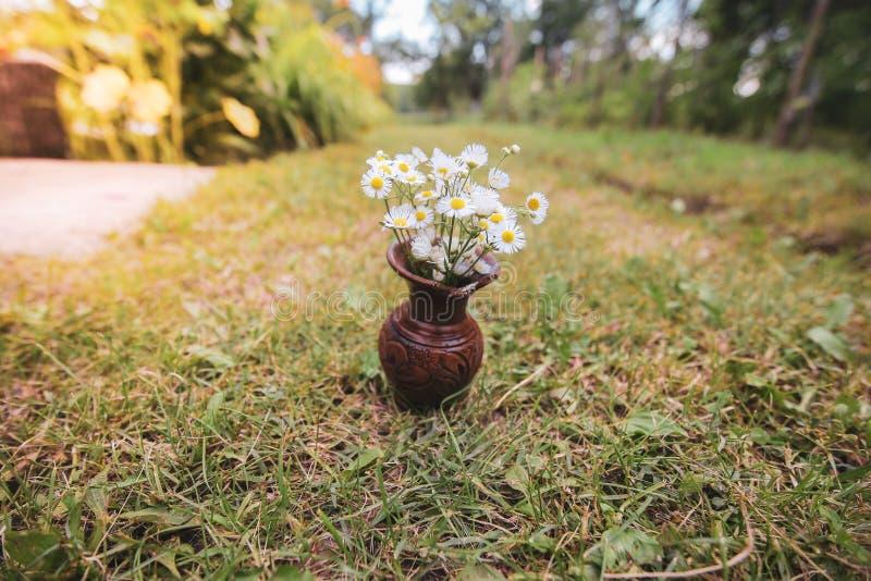 Bouquet des fleurs sauvages sauvages colorées dans un pot d'argile cassé étendu sur l'herbe image libre de droits