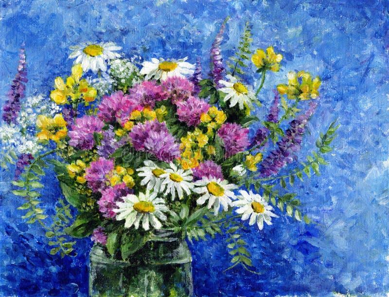 Bouquet des fleurs sauvages dans un pot en verre illustration libre de droits