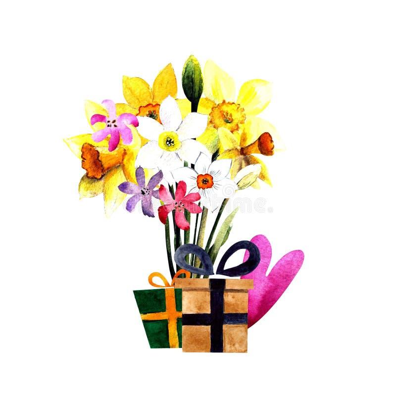 Bouquet des jonquilles avec l'illustration d'aquarelle de cadeau et de coeur sur le fond blanc illustration de vecteur