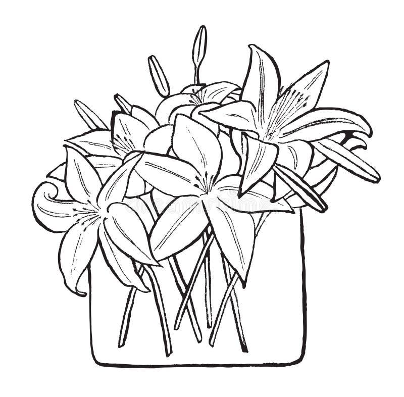 Bouquet des lis illustration de vecteur