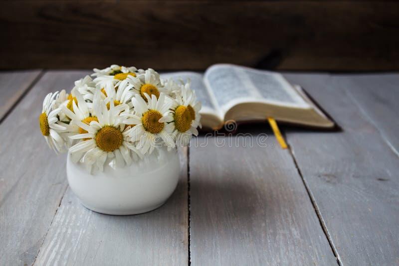 Bouquet des marguerites blanches et de la bible image stock
