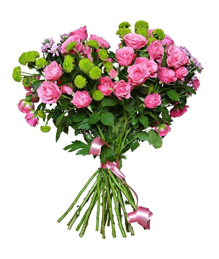 Bouquet des roses et des fleurs roses d'aster image libre de droits