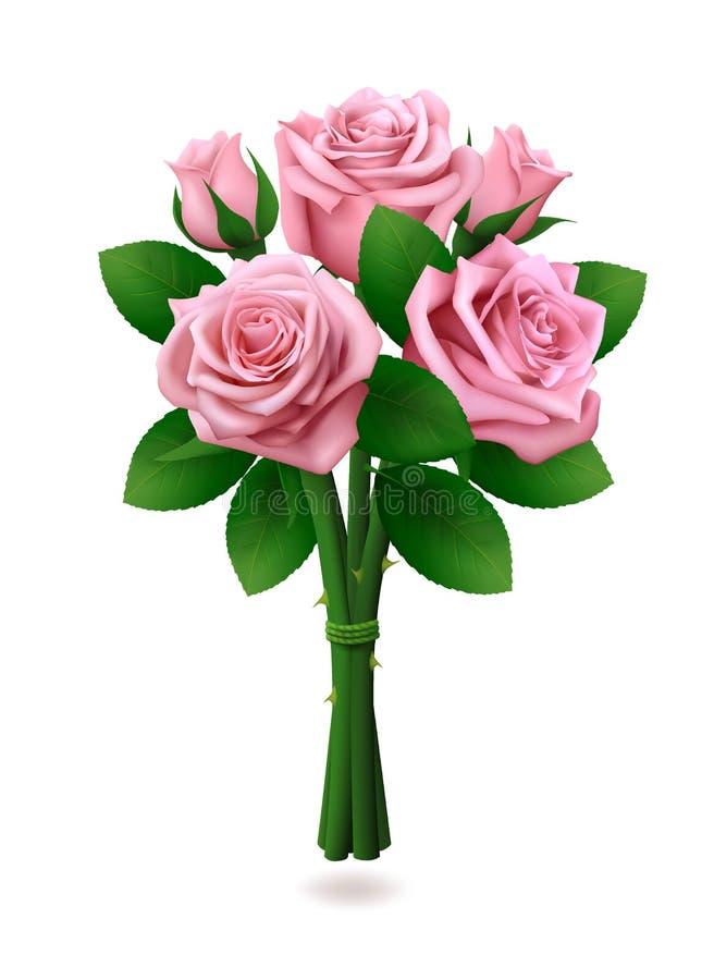Bouquet des roses roses sur le fond blanc illustration de vecteur