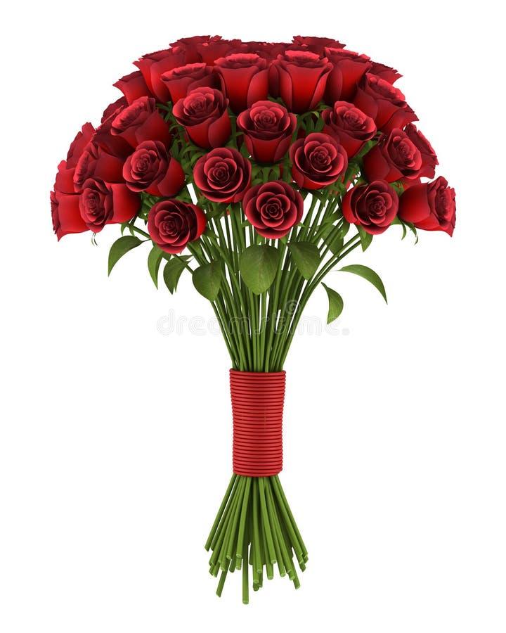 Bouquet des roses rouges d'isolement sur le blanc illustration stock