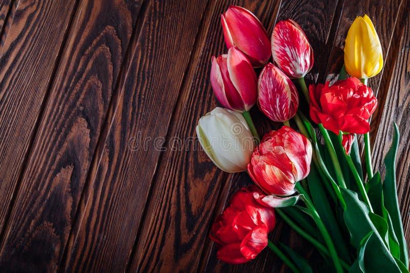 Bouquet des tulipes colorées fraîches sur le fond en bois Fleurs rouges, roses, jaunes et blanches l'espace image libre de droits