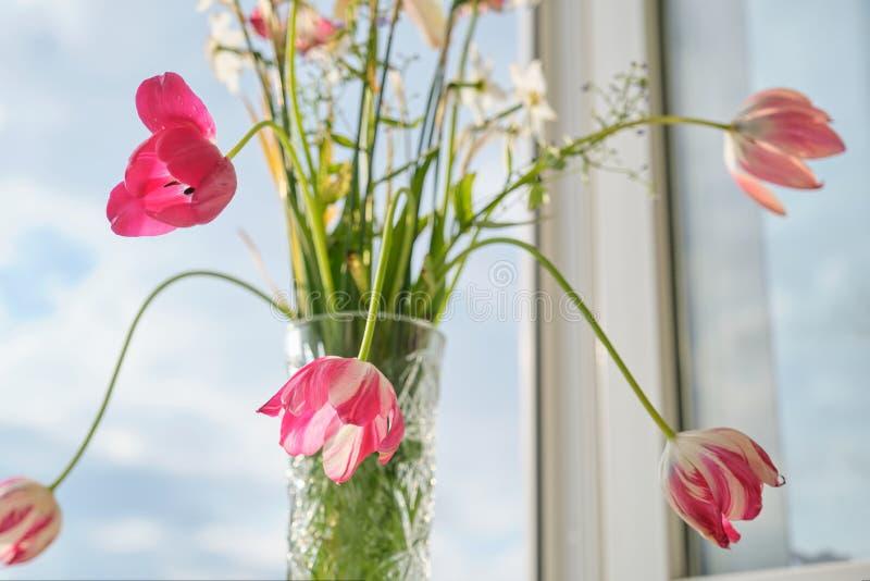 Bouquet des tulipes de fleurs de ressort et des jonquilles blanches dans le vase sur la fen?tre image stock