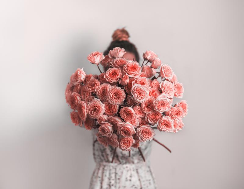Bunch of Living Coral roses stock image