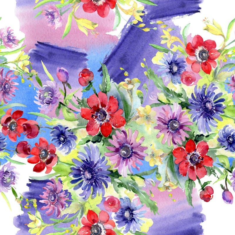 Bouquet floral botanical flowers. Watercolor background illustration set. Seamless background pattern. Bouquet floral botanical flowers. Wild spring leaf royalty free illustration