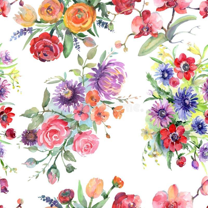Bouquet floral botanical flowers. Watercolor background illustration set. Seamless background pattern. Bouquet floral botanical flowers. Wild spring leaf vector illustration