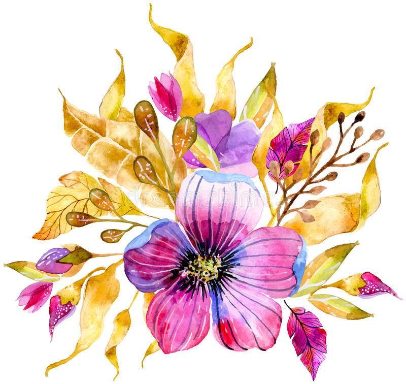 Bouquet floral d'aquarelle illustration libre de droits
